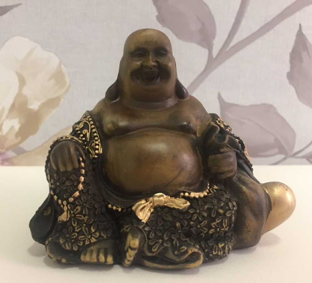 Small Wood Effect Laughing Buddha Holding Bag